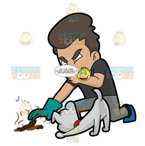 A Man Picking Up Some Stinky Dog Poo