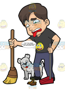 A Disgusted Man Sweeping Dog Poo