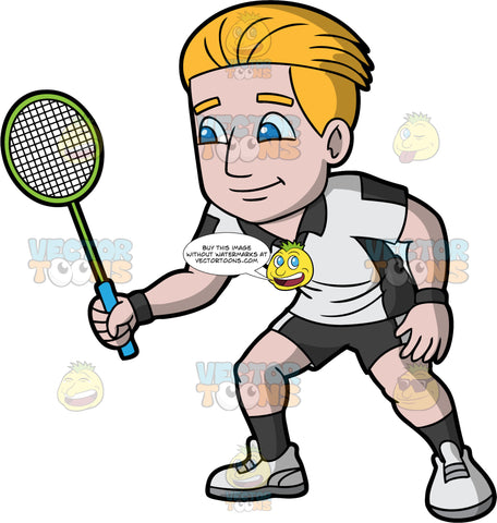 A Man Getting Ready To Play A Game Of Badminton. A man with dark blonde hair and blue eyes, wearing dark gray shorts, a light gray and dark gray shirt, dark gray socks, and light gray shoes, holding onto a badminton racquet in one hand as he waits for the game to begin