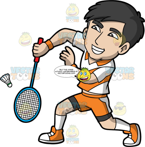 An Asian Man Playing Badminton. An Asian man with black hair, wearing orange shorts, a white and orange shirt, white socks, and orange sneakers, bends his elbow and holds his badminton racquet down in order to hit a shuttlecock coming toward him