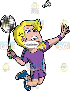 An Serious Man Playing Badminton. A man with blonde hair and blue eyes, wearing purple shorts, a matching purple shirt, and blue shoes, jumping into the air and reaching his arm behind him as he prepares to hit a shuttlecock with his racquet