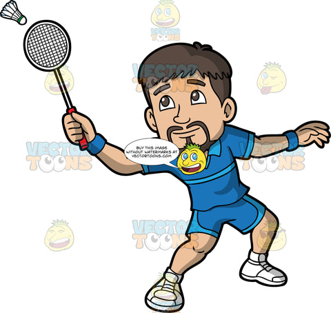 A Man Hitting A Shuttlecock With His Badminton Racquet. A man with dark brown hair and a goatee, wearing blue shorts, a blue shirt, and white sneakers, hitting a shuttlecock with the racquet in his hand