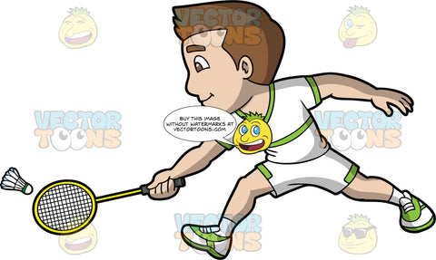 A Man Playing Badminton. A man with brown hair and eyes, wearing white with green shorts, a matching white with green shirt, and white and green shoes, lunges forward and tries to hit a shuttlecock with his badminton racquet