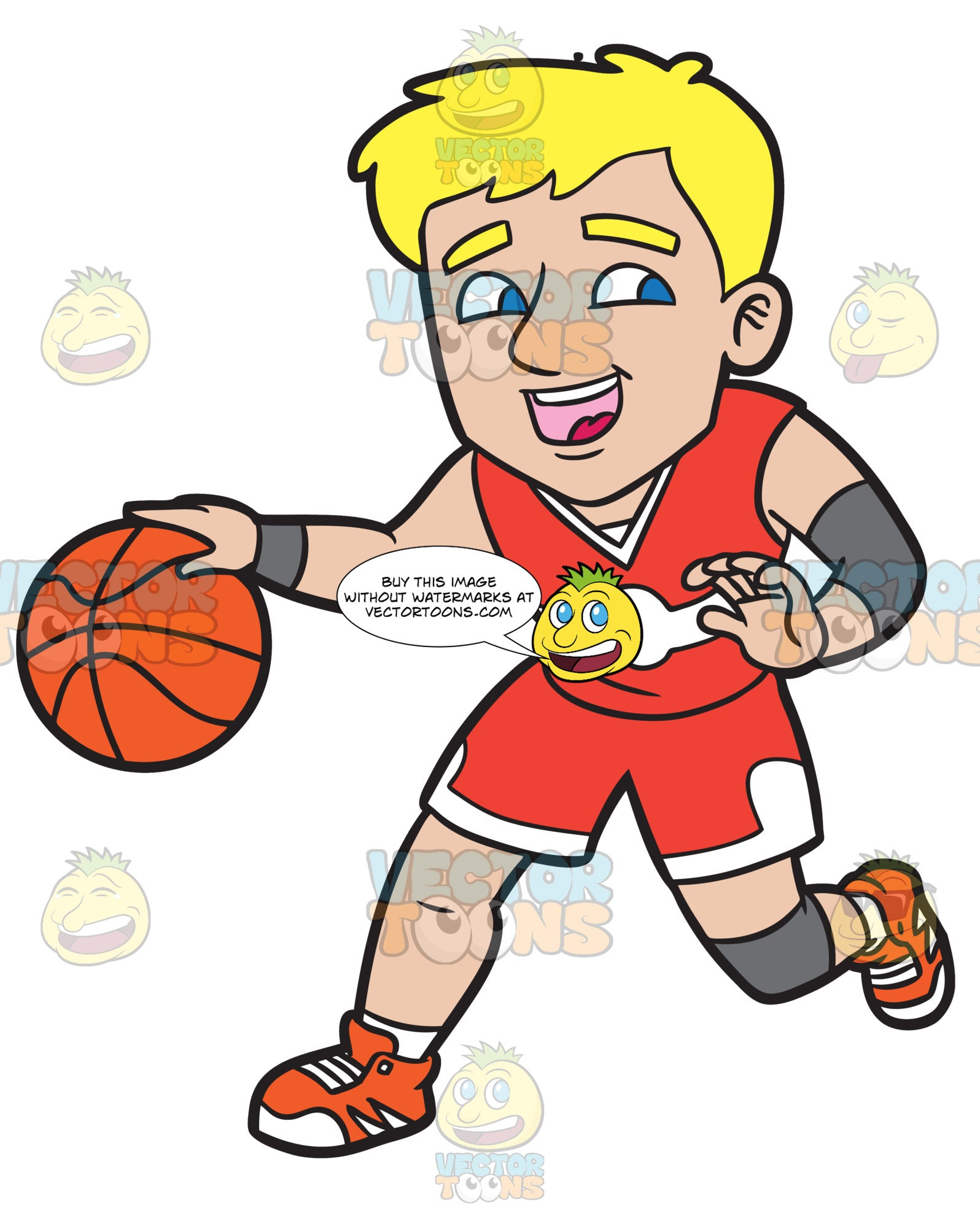 A Happy Male Basketball Player Dribbling A Ball