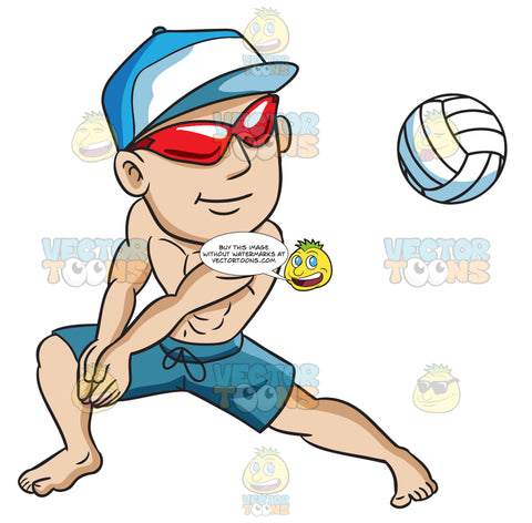 A Man Enjoying A Game Of Beach Volleyball