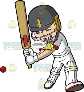 A Cricket Batsman Getting Ready To Hit The Ball. A man wearing a grey with yellow safety helmet, white cricket uniform, white shoes, gloves and shin and knee pads, holds a cricket bat and lunges forward with one leg as he prepares to hit a ball heading towards him