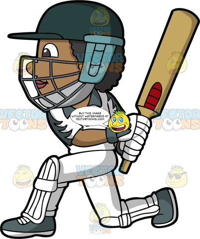 A Cricket Player Down On One Knee After Just Hitting The Ball. A black man wearing a green safety helmet, white and green cricket uniform, green shoes and white shin and knee pads, bends down on one knee after just striking a cricket ball with the bat in his hands