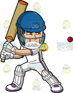 A Cricket Player Getting Ready To Hit A Cricket Ball. A man wearing a blue safety helmet, white cricket uniform with purple stripes down the side, white gloves, white shoes with purple laces, and white shin and knee pads, stands with his cricket bat raised as he prepares to hit the ball heading towards him