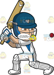 A Man Preparing To Hit A Cricket Ball. A cricket player wearing a blue safety helmet, white uniform, white and blue gloves, white shin and knee pads, and white shoes, bends his knees and holds his bat up as he gets ready to hit the red ball that has just been bowled to him