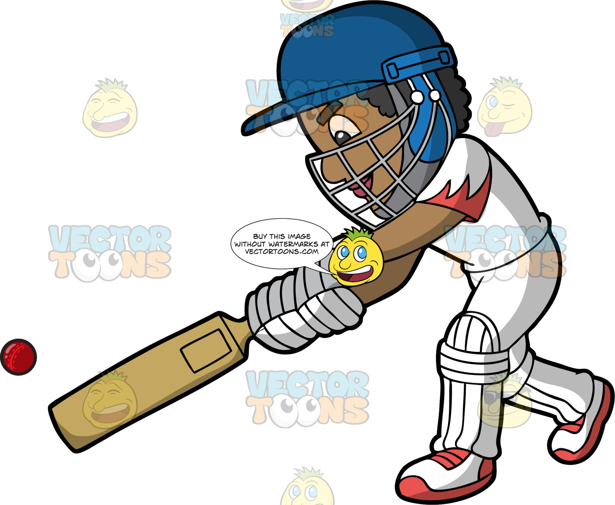 A Black Cricket Player Concentrates As He Hits A Cricket Ball. A black man wearing a blue safety helmet, white cricket uniform, white with red shoes and white shin and knee pads, lunges forward and hits a cricket ball with his bat