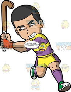 An aggressive man playing field hockey. A man with black hair, wearing yellow and purple shorts, purple and yellow shirt, purple socks, and green shoes, has an aggressive look on his face as he holds his field hockey stick up in the air