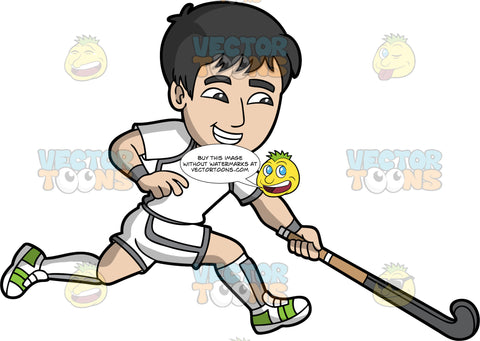 A man running with a field hockey stick in his hand . A man with black hair, wearing white and gray shorts, a white and gray shirt, white and gray socks, and green and white shoes, runs across the field with his field hockey stick in one hand