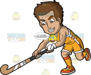 A man lunging forward to hit a ball with his field hockey stick. A man with brown hair and eyes, wearing orange shorts, an orange tank top, orange socks and orange shoes, lunges forward with his field hockey stick in his hands trying to reach a ball