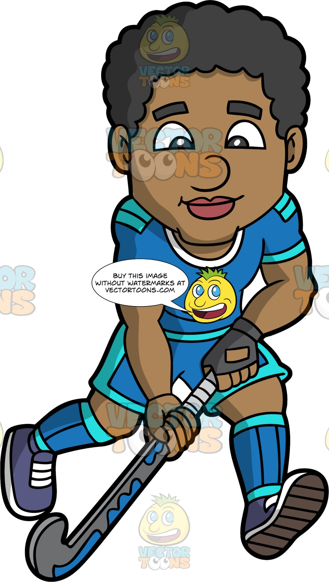 A black man enjoying a game of field hockey. A black man wearing blue shorts, a blue shirt, blue socks and dark blue shoes, holding a field hockey stick in his hands and running
