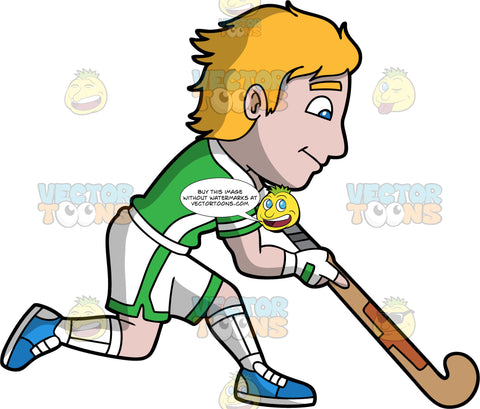 A man preparing to hit a ball with his field hockey stick. A man with dark blonde hair and blue eyes, wearing white and green shorts, a green and white shirt, white socks and blue shoes, holds his field hockey stick low to the ground as he prepares to hit a ball