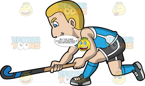 A man lunging forward with his field hockey stick in his hands. A man with blonde hair and blue eyes, wearing black with white shorts, a blue with white tank top, blue socks and dark gray shoes, lunges forward with his field hockey stick in his hands trying to reach for a ball
