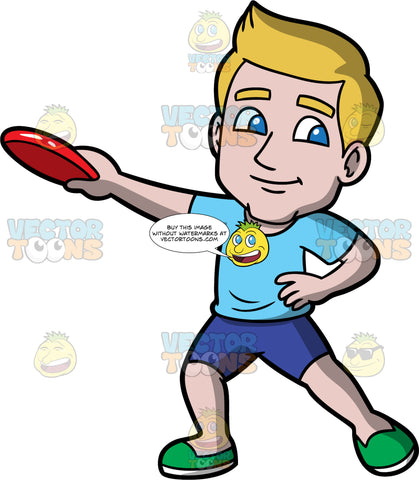 Matthew Holding A Red Frisbee. A man wearing dark blue shorts, a light blue t-shirt, and green shoes, standing with one hand on his hip and the other hand holding a red frisbee