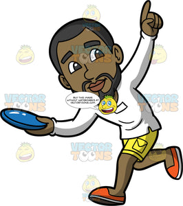 Calvin Getting Ready To Throw A Frisbee. A black man with a beard wearing yellow shorts, a long sleeve white shirt, and orange shoes, points with one hand and prepares to throw the blue frisbee in his other hand