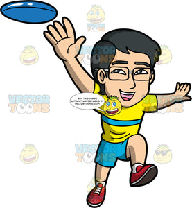 Simon Reaching His Arm Out To Catch A Frisbee. An Asian man wearing blue shorts, a yellow shirt with a blue stripe across the middle, red shoes, and eyeglasses, reaches out to try and catch a blue frisbee