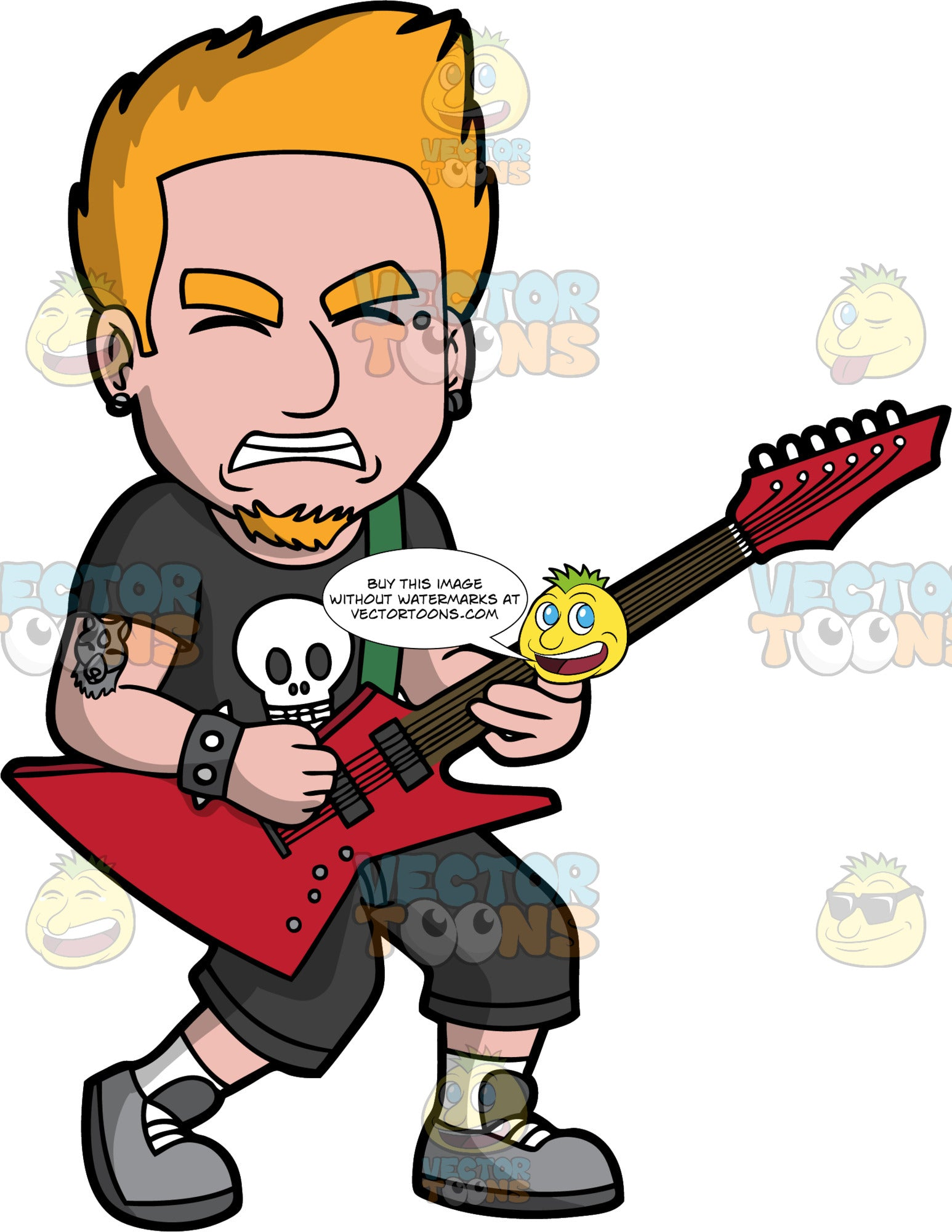 A Man Playing Heavy Metal On An Electric Guitar. A man with orange hair and a goatee, wearing black shorts, a black t-shirt with a skull on it, and gray shoes, closes his eyes and grits his teeth as he plays heavy metal music on a red electric guitar