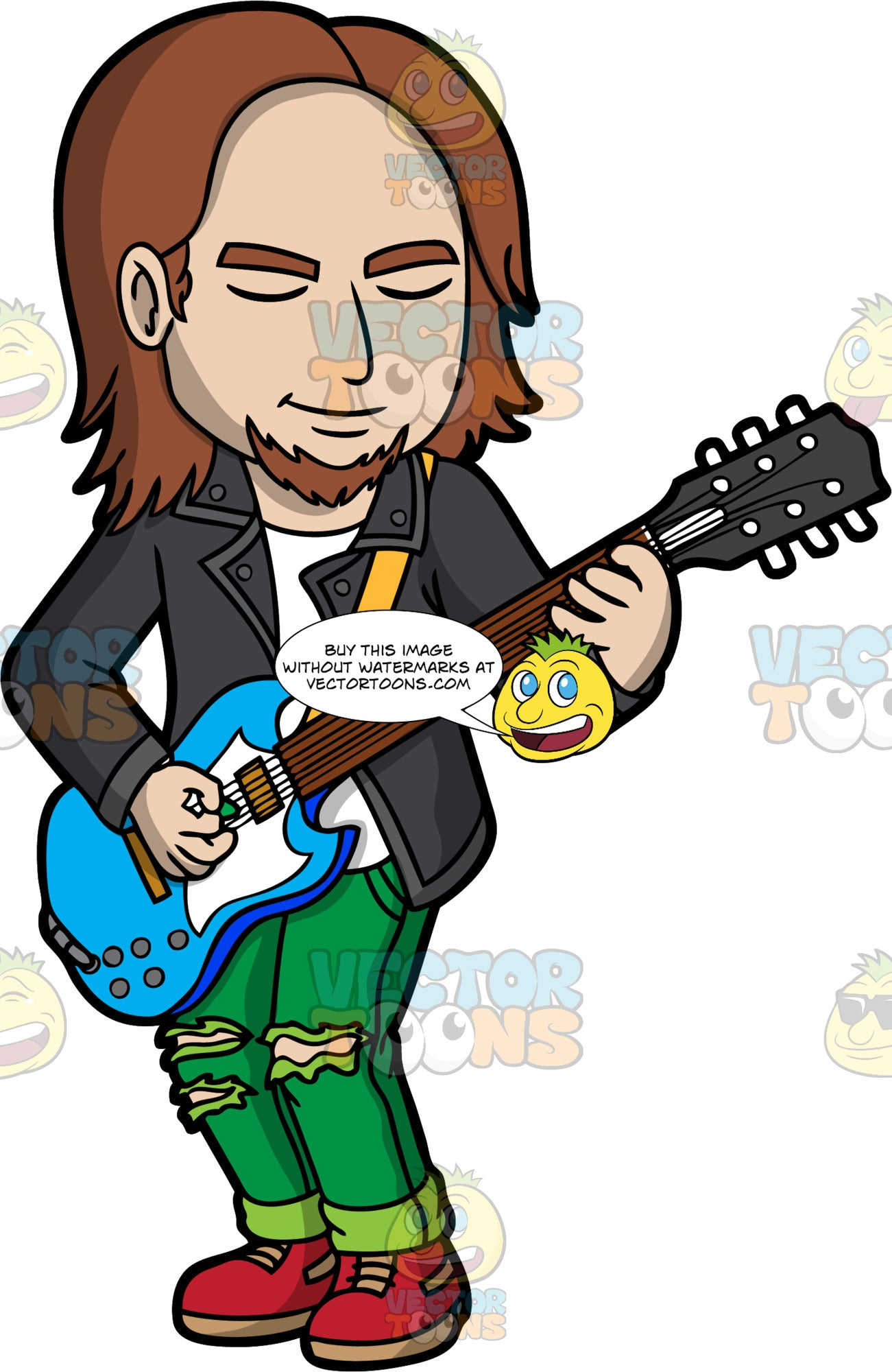 A Cool Man Playing An Electric Guitar. A man with shaggy brown hair and a goatee, wearing ripped green pants, a black leather jacket over a white shirt, and red shoes, closes his eyes as he plays a song on a blue electric guitar