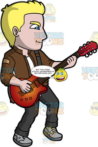 A Blonde Man Playing An Electric Guitar. A man with blonde hair and blue eyes, wearing black pants, a brown jacket over a white t-shirt, and gray shoes, concentrates as he plays an electric guitar