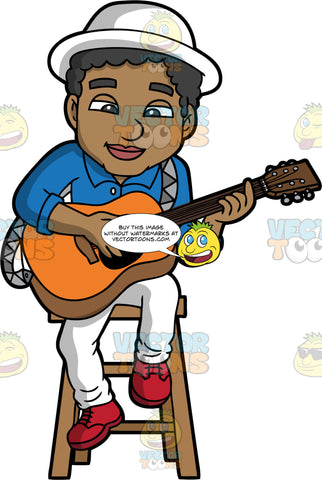 A Cool Black Man Playing An Acoustic Guitar. A black man wearing white pants, a blue shirt, red shoes, and a white hat, sitting on a stool, playing an acoustic guitar