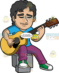 A Latin Man Playing An Acoustic Guitar. A man with black hair, wearing purple pants, a blue shirt, and green shoes, sitting on a square block, and closes his eyes while playing an acoustic guitar