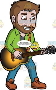 A Bearded Man Playing An Acoustic Guitar. A man with brown hair and a beard, wearing blue pants, a green shirt over a gray t-shirt, and brown shoes, smiles as he plays a classic acoustic guitar