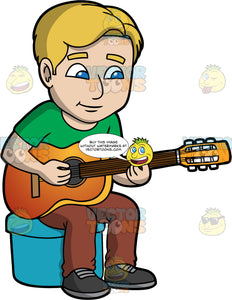 A Man Learning How To Play An Acoustic Guitar. A man with dirty blonde hair and blue eyes, wearing brown pants, a green shirt, and black shoes, sits on a blue stool as he learns how to play chords on an acoustic guitar