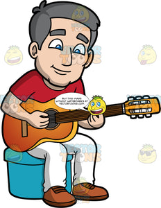 Bob Learning How To Play An Acoustic Guitar. A mature man with gray hair and blue eyes, wearing white pants, a red t-shirt, and brown shoes, sitting on a blue stool and learning how to play his new acoustic guitar