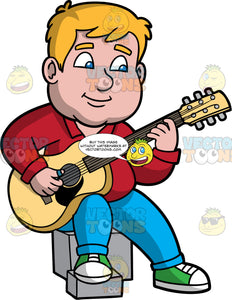 Sam Sitting Down And Playing An Acoustic Guitar. A chubby man with dark blonde hair and blue eyes, wearing blue pants, a red shirt, and green sneakers, sitting on a gray block and playing an acoustic guitar