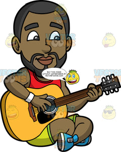 Calvin Playing An Acoustic Guitar. A black man with a beard, wearing lime green shorts, a red tank top, and blue sneakers, sitting on the ground playing an acoustic guitar