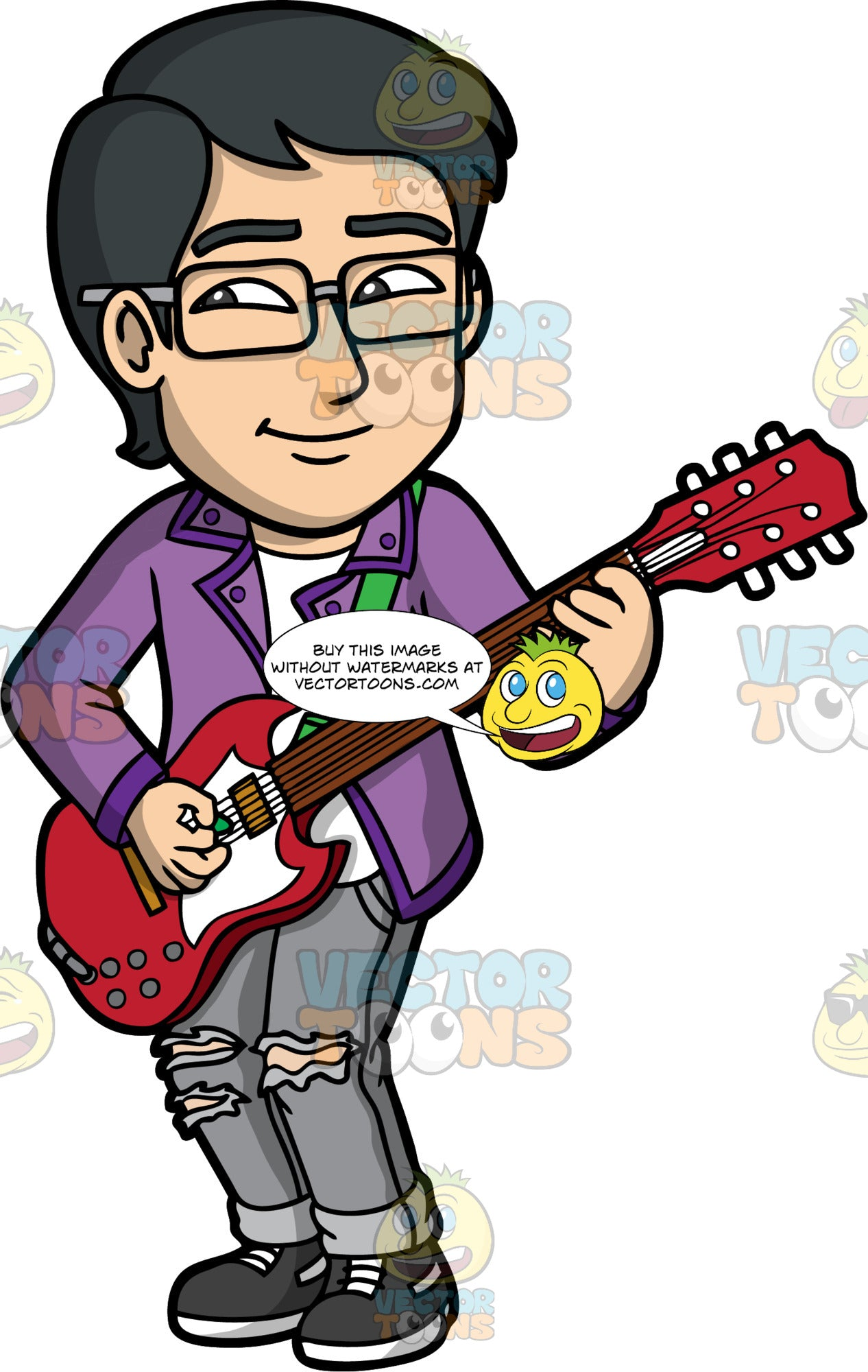 Simon Playing A Red Electric Guitar. An Asian man wearing ripped gray jeans, a purple shirt over a white t-shirt, eye glasses, and black shoes, standing and playing a red electric guitar