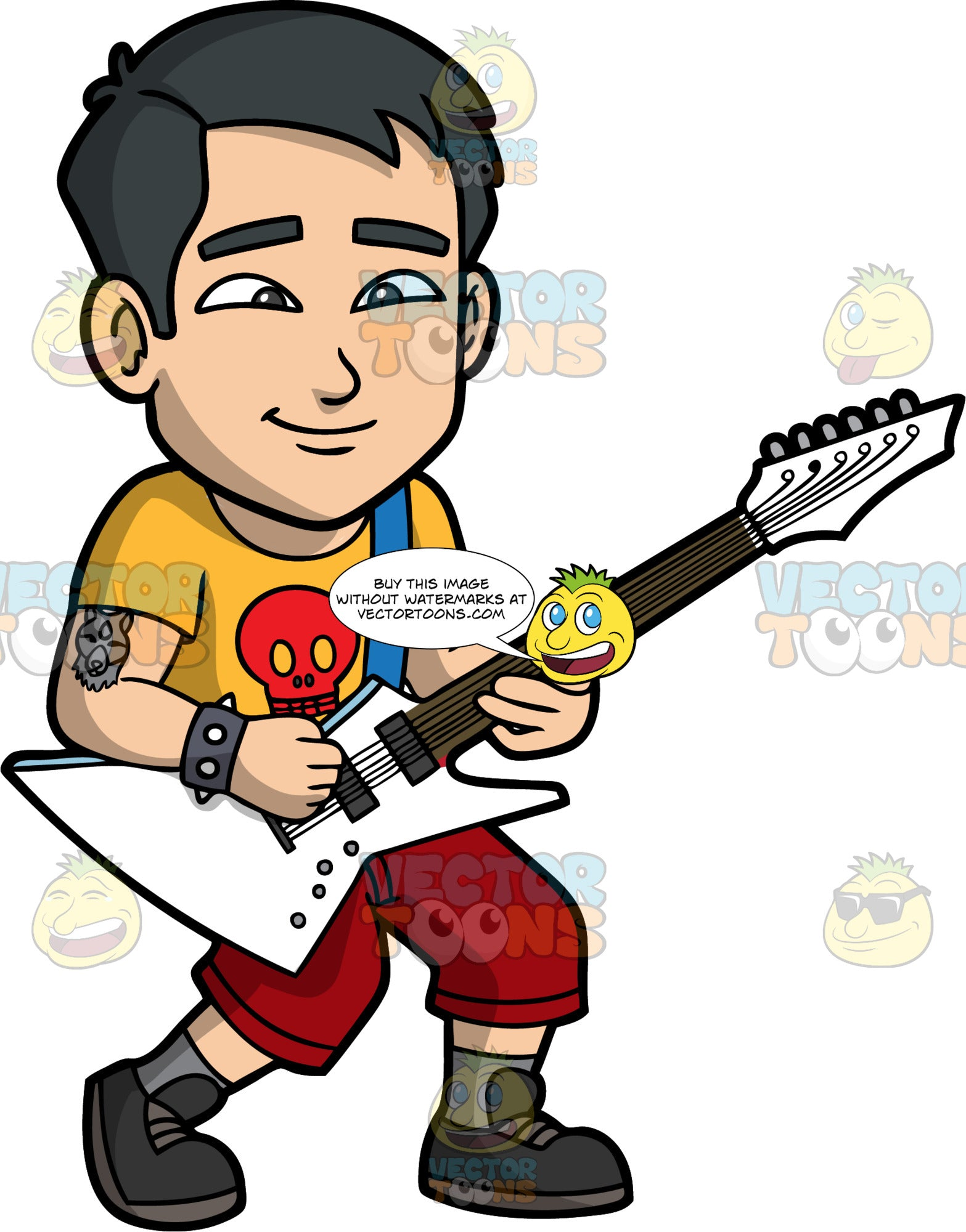 Kevin Playing Heavy Metal Music On An Electric Guitar. An Asian man with tattoo on his upper arm, wearing burgundy shorts, a yellow shirt with a red skull on it, and dark gray shoes, standing and playing a pointy electric guitar