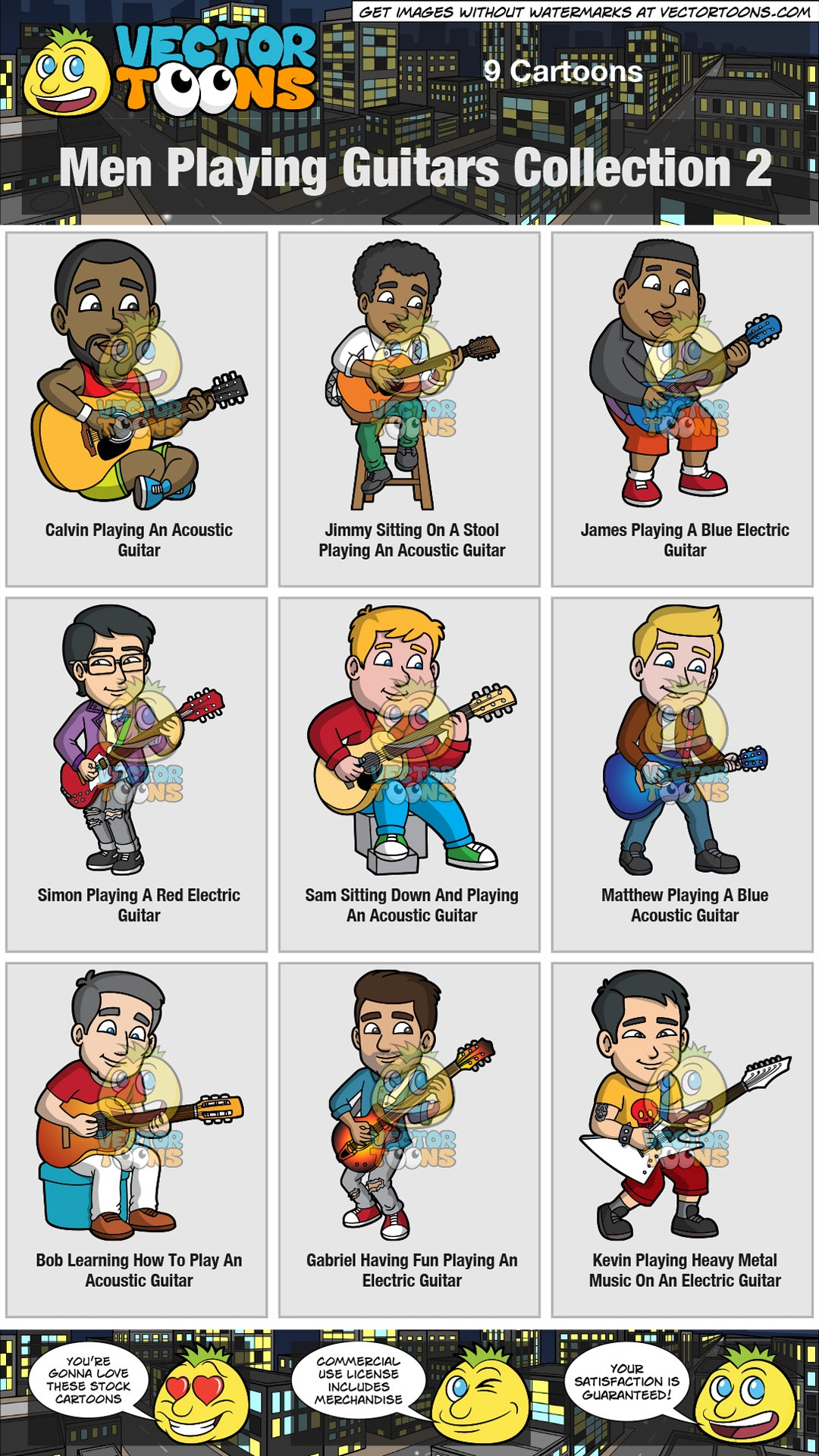 Men Playing Guitars Collection 2