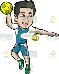 A happy man getting ready to throw a handball. A man with black hair and dark eyes, wearing a blue and white handball uniform, white socks and green shoes, holds a yellow and green handball in his hand and gets ready to throw it