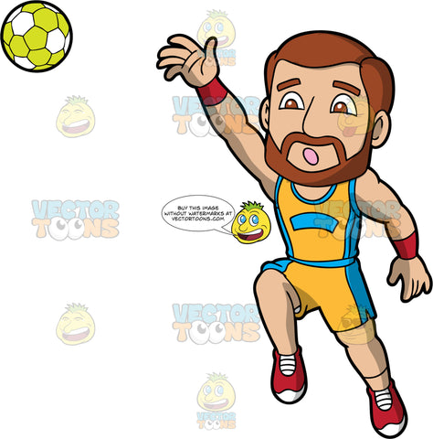 A man throwing a handball. A man with brown hair, brown beard and brown eyes, wearing a yellow and blue handball uniform, jumps in the air and throws a green and white handball