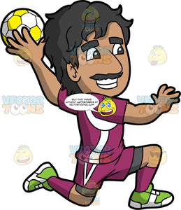 A Latin man getting ready to throw a handball. A Latin man with black hair and a mustache, wearing a purple and white handball uniform, purple socks and green shoes, smiles as he holds a yellow and white handball in his hand and gets ready to throw it