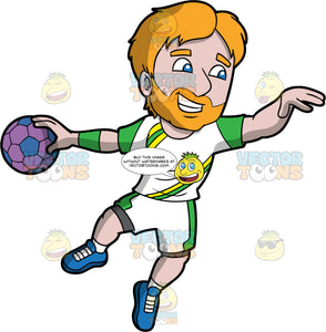 A man having fun playing handball. A man with orange hair and beard, wearing white shorts with green stripes, a white shirt with green and yellow, and blue shoes, holding a purple handball in his one hand getting ready to throw it
