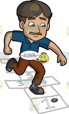 A Grown Man Playing Hopscotch. A man with dark brown hair and mustache, wearing a dark blue polo shirt, gray belt, brown pants, two tone gray shoes, throws a gray coin while playing hopscotch, as he jumps on numbered rectangles outlined on the ground