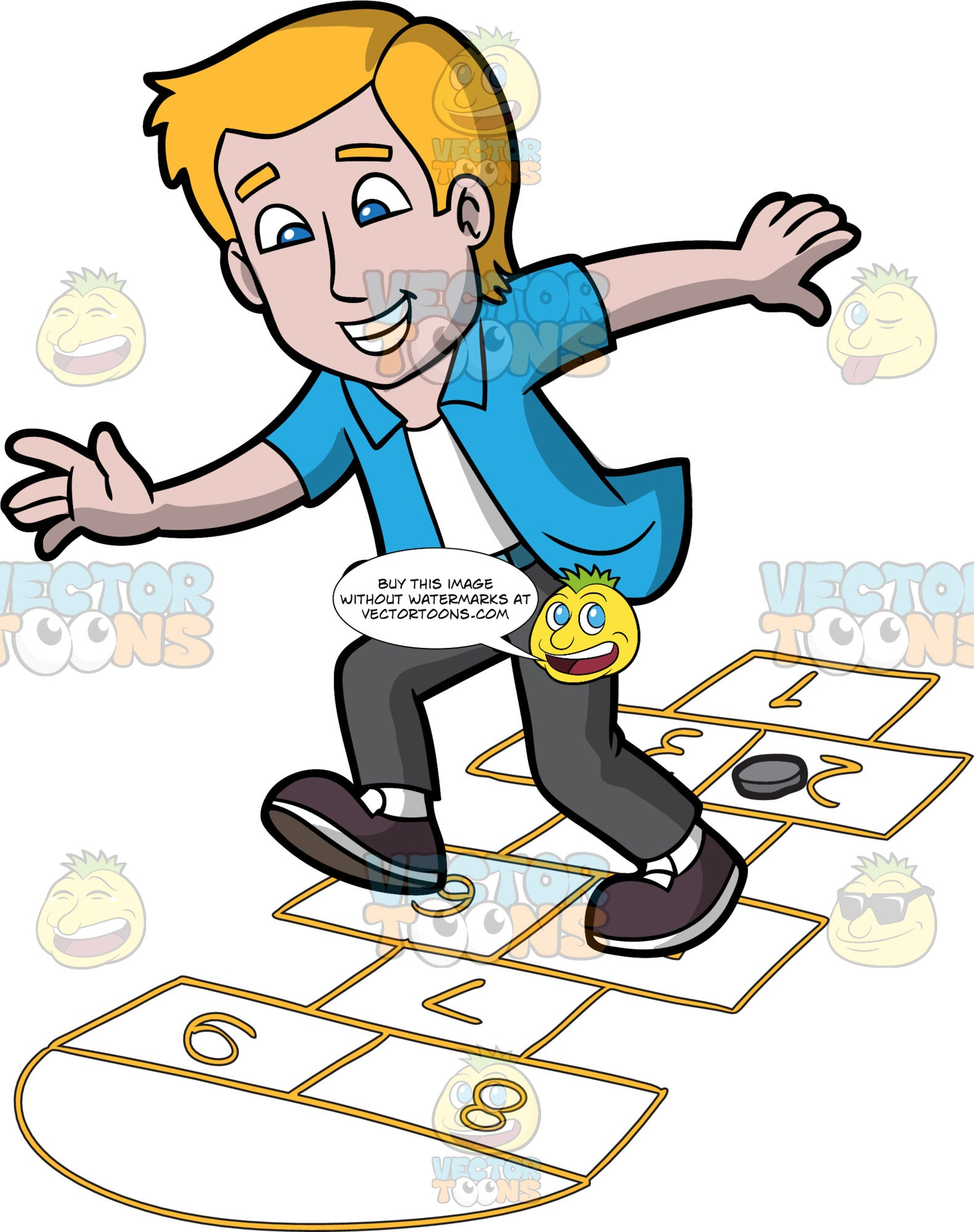 A Joyful Man Playing Hopscotch. A man with blonde hair, wearing a white tank top under an unbuttoned blue shirt, gray pants, dark brown with white shoes, grins while playing hopscotch, as he jumps on numbered rectangles outlined on the ground