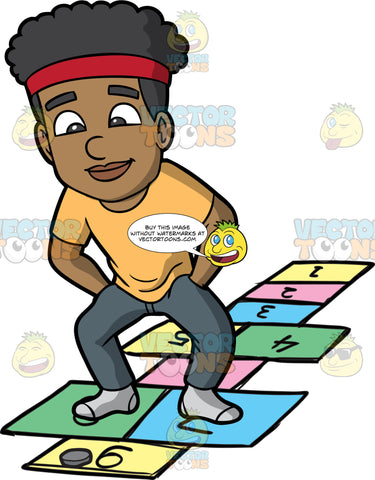 An Athletic Black Man Playing Hopscotch. A black man with curly hair, wearing a red bandana, light orange shirt, dark gray pants, gray socks, smiles as he places his hands in his pockets while looking at a gray  to play hopscotch as he jumps on colored and numbered rectangles outlined on the ground