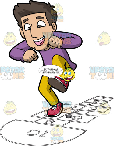 A Happy Man Playing Hopscotch. A man with dark brown hair, wearing a purple sweatshirt, yellow pants, red shoes, grins and  jumps on numbered rectangles outlined on the ground to play hopscotch