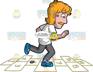 A Guy Playing Hopscotch. A man with dark blonde hair and mustache, wearing a white shirt, gray pants, blue sneakers, places a gray coin on the floor  as he jumps on numbered rectangles outlined on the ground