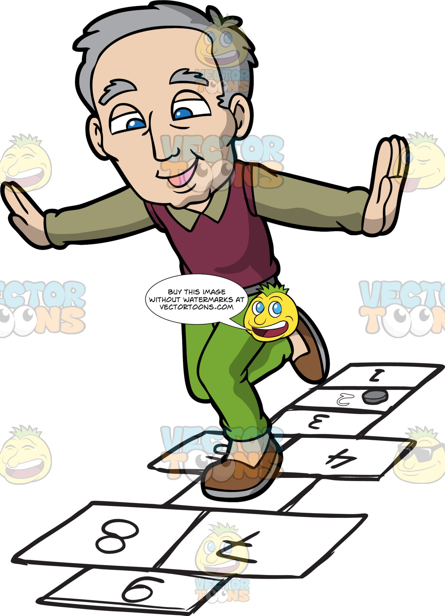 An Old Man Playing Hopscotch. An old man with gray hair, wearing an olive green dress shirt under a dark magenta vest, green pants, brown shoes, smiles  as he jumps on numbered rectangles outlined on the ground to play hopscotch