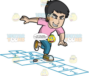 A Mischievous Man Playing Hopscotch. A man with black hair, wearing a pink shirt, teal pants, mustard yellow and white sneakers, places a gray coin on the ground while grinning mischievously,  as he jumps on numbered rectangles outlined on the ground