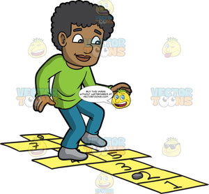 A Black Guy Playing Hopscotch. A black man with curly hair, wearing a green sweatshirt, teal pants, gray socks, smiles as he jumps on yellow numbered rectangles outlined on the ground to play hopscotch