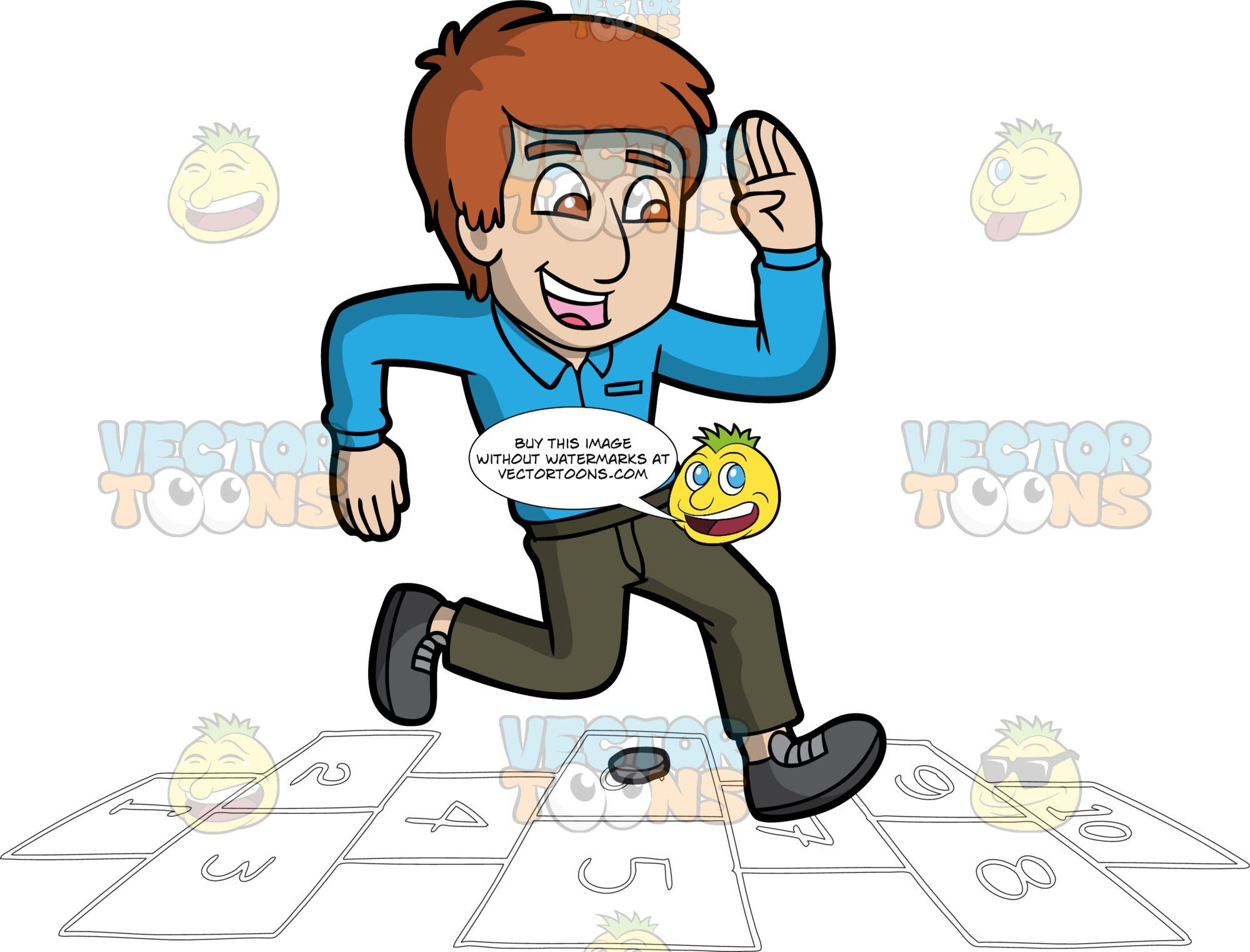 A Giddy Guy Playing Hopscotch. A man with reddish brown hair, wearing a blue dress shirt, dark green pants, dark gray belt and shoes, smiles in delight, as he jumps on numbered rectangles outlined on the ground