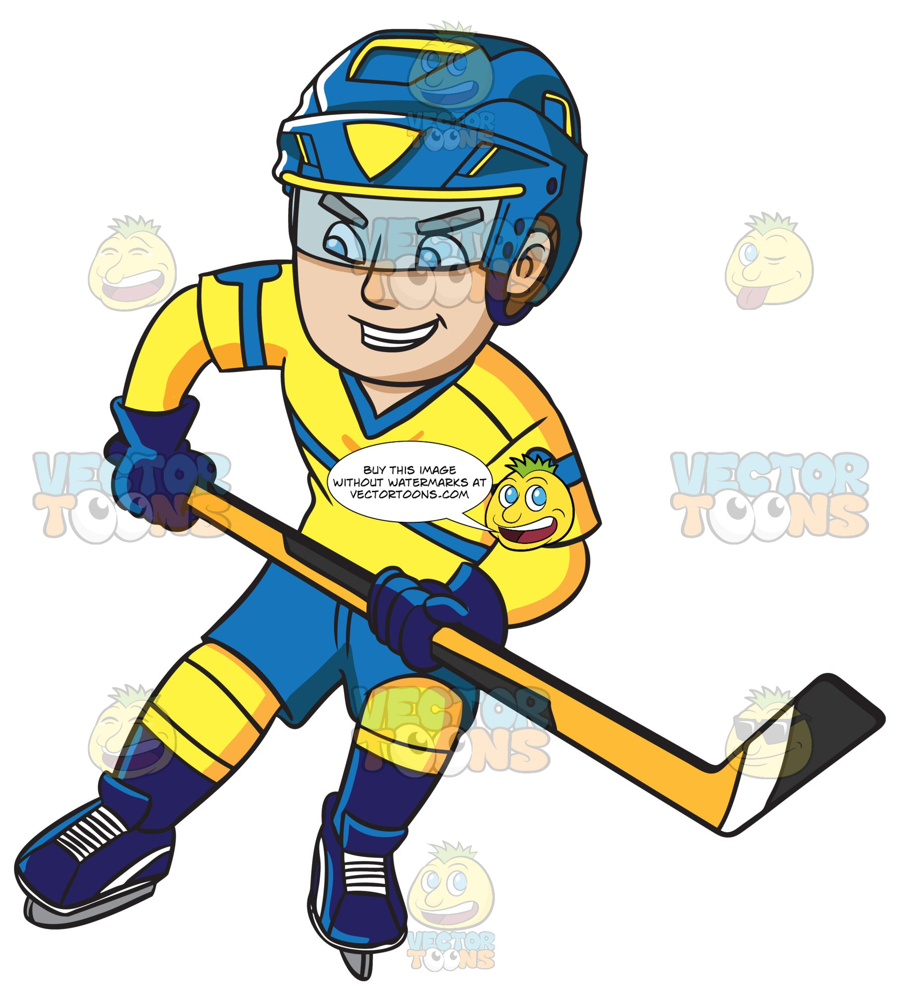 A Hockey Player Confidently Skates With His Stick Clipart Cartoons By Vectortoons